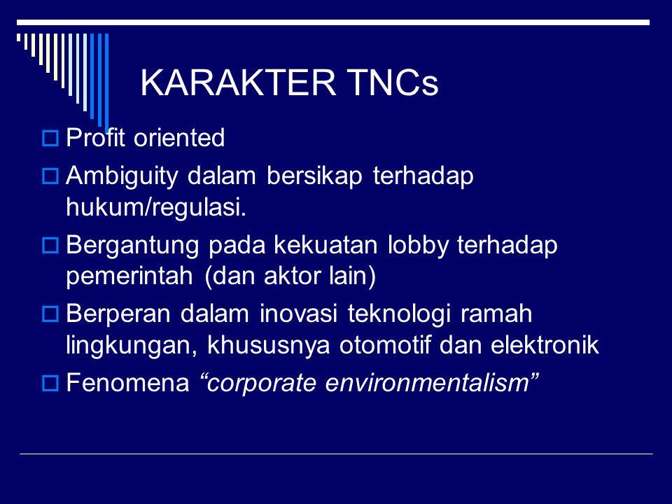 KARAKTER TNCs  Profit oriented  Ambiguity dalam bersikap terhadap hukum/regulasi.