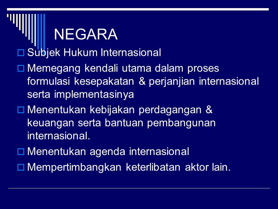 NEGARA  Subjek Hukum Internasional  Memegang kendali utama dalam proses formulasi kesepakatan & perjanjian internasional serta implementasinya  Menentukan kebijakan perdagangan & keuangan serta bantuan pembangunan internasional.