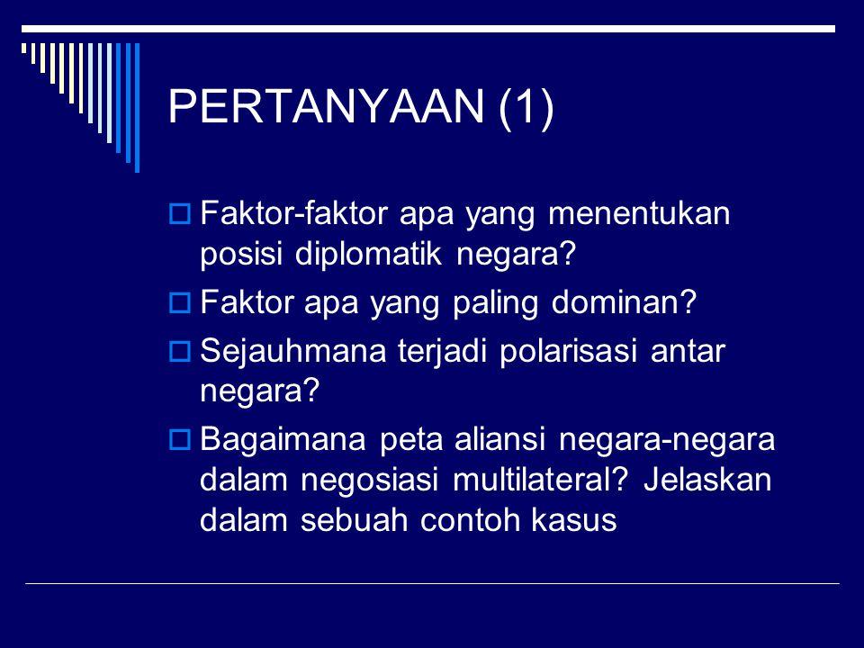 PERTANYAAN (1)  Faktor-faktor apa yang menentukan posisi diplomatik negara.