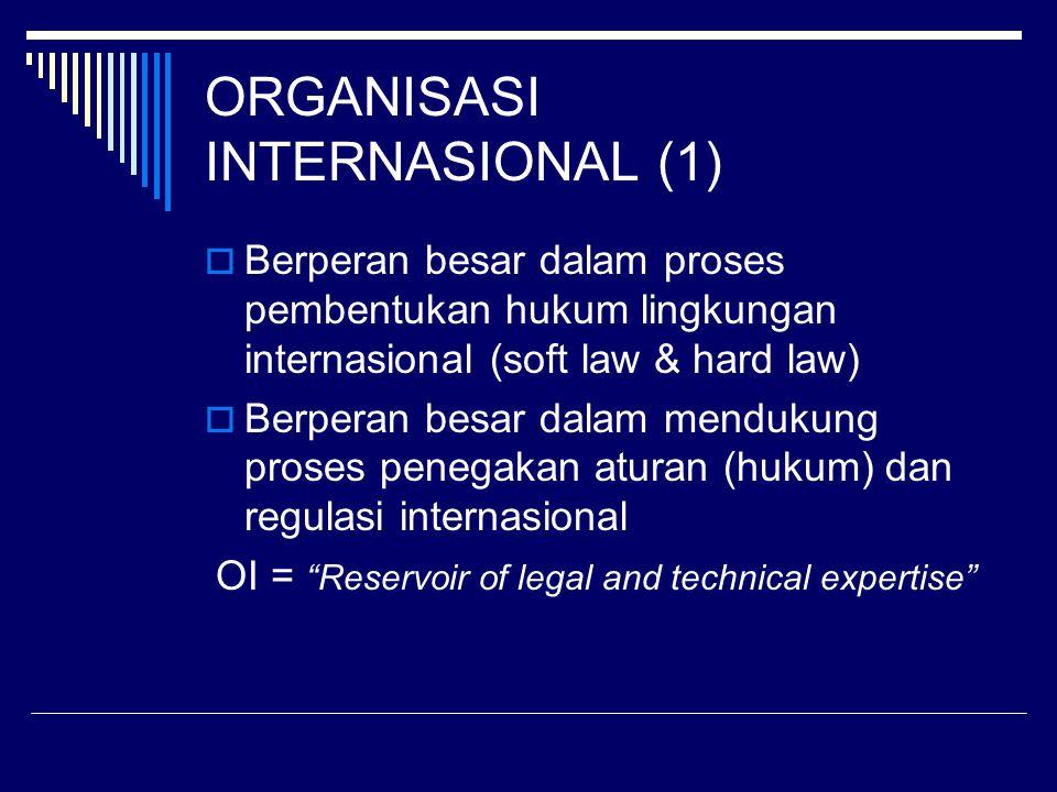 ORGANISASI INTERNASIONAL (1)  Berperan besar dalam proses pembentukan hukum lingkungan internasional (soft law & hard law)  Berperan besar dalam mendukung proses penegakan aturan (hukum) dan regulasi internasional OI = Reservoir of legal and technical expertise