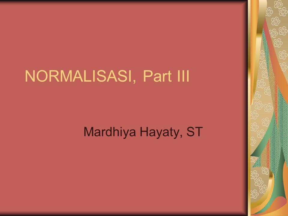 NORMALISASI, Part III Mardhiya Hayaty, ST