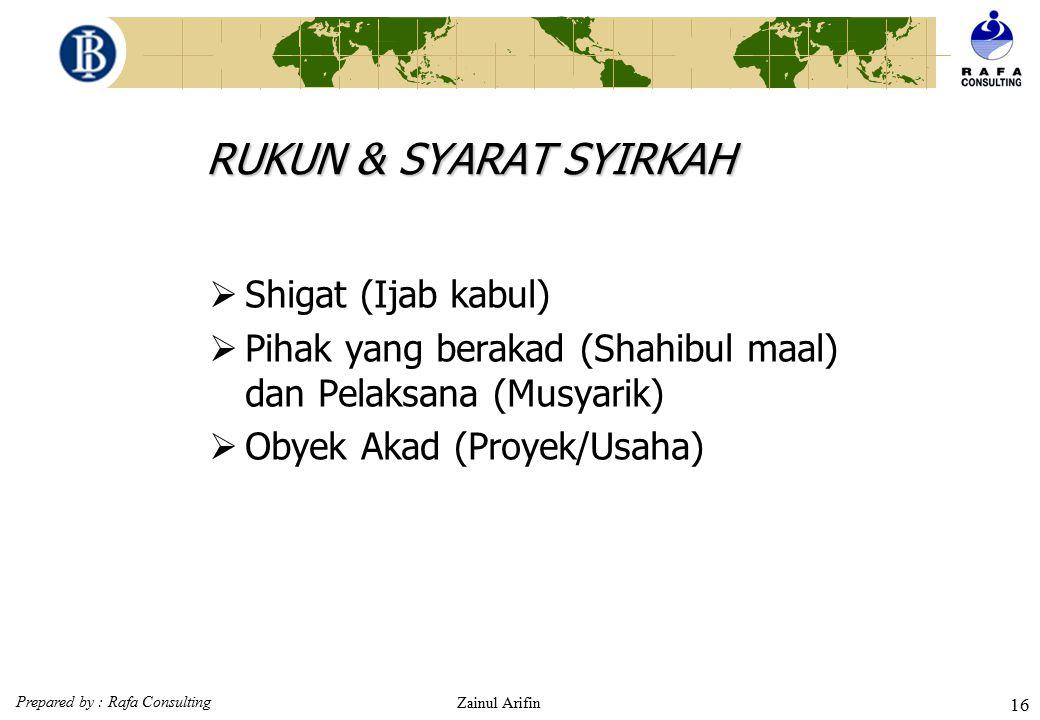 Prepared by : Rafa Consulting Zainul Arifin 15 SYIRKAH SYIRKAH AL MILK bukan kontrak SYIRKAH AL 'UQUD kontrak IKHTIYARIAH sukarela IJBARIYAH terpaksa