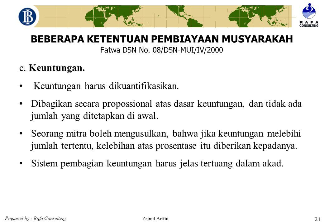 Prepared by : Rafa Consulting Zainul Arifin 20 BEBERAPA KETENTUAN PEMBIAYAAN MUSYARAKAH Fatwa DSN No. 08/DSN-MUI/IV/2000 b. Kerja. Partisipasi dalam p