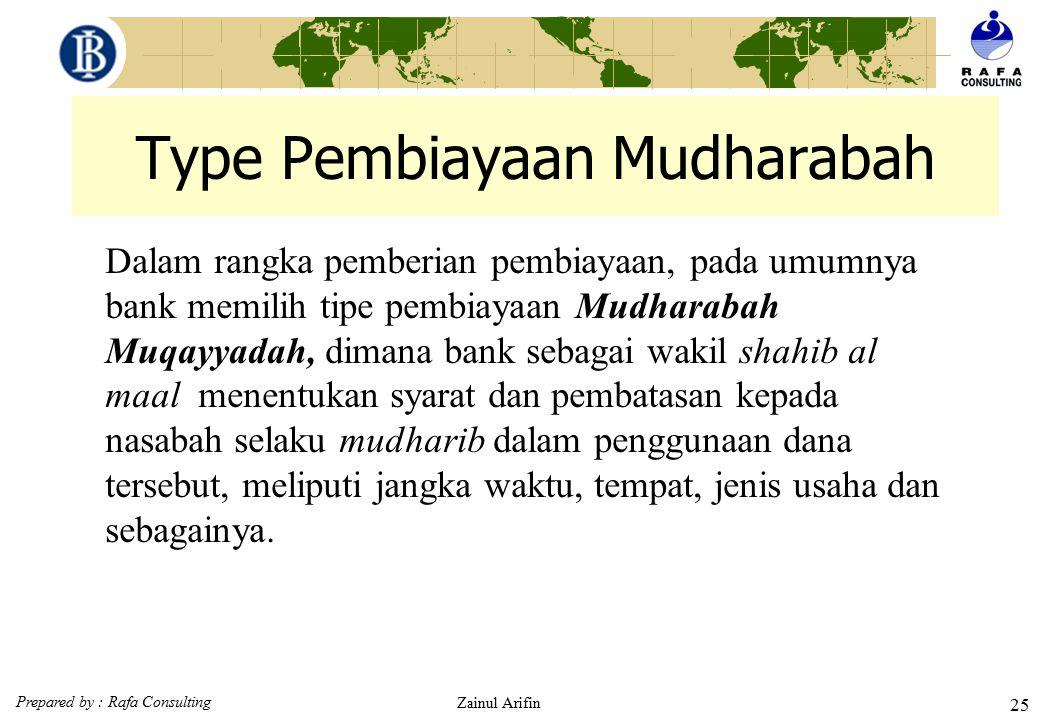 Prepared by : Rafa Consulting Zainul Arifin 24 Konsep Mudharabah Al Mudharabah adalah Akad kerjasama antara pemilik dana (shahibul maal) dengan pengus