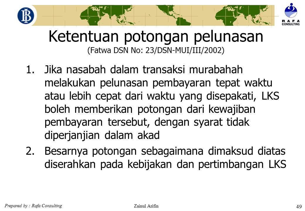 Prepared by : Rafa Consulting Zainul Arifin 48 Ketentuan Sanksi (denda) (Fatwa DSN No. 17/DSN-MUI/IX/2000) 1.Sanksi dikenakan LKS kepada nasabah yang