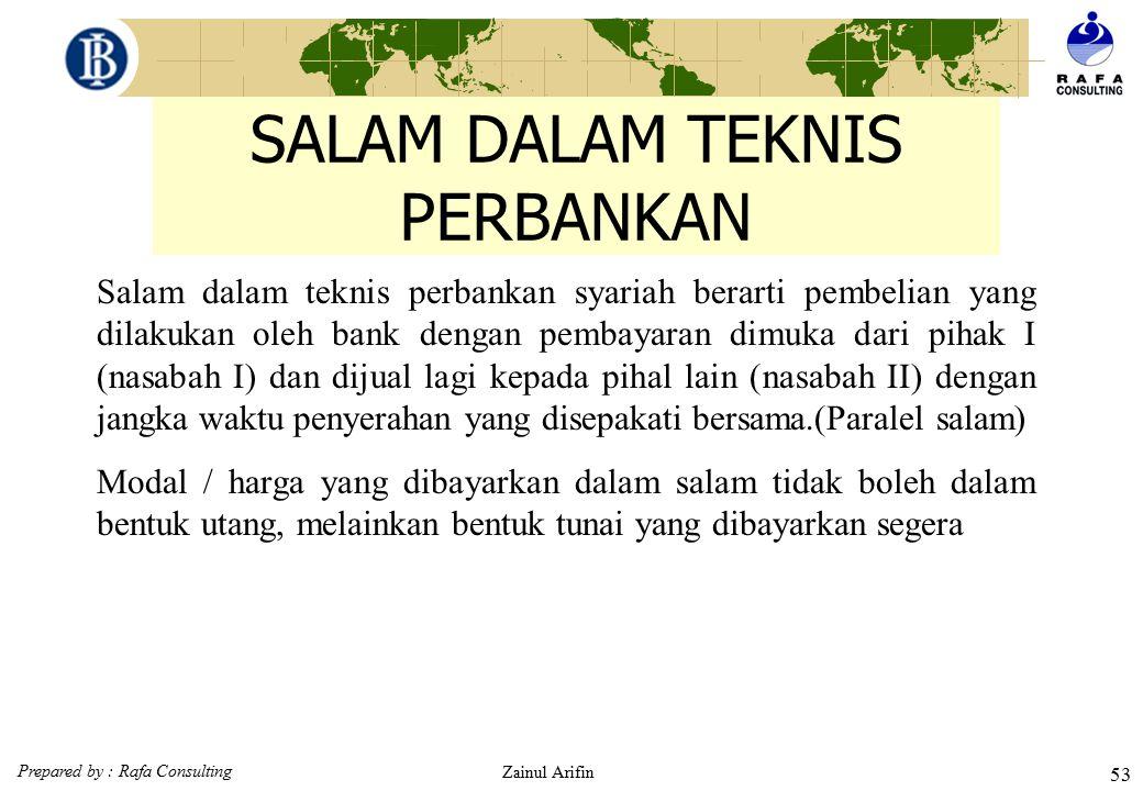 Prepared by : Rafa Consulting Zainul Arifin 52 SKEMA SALAM FIQH 1. Akad Salam Petani/penjual (muslam ilaihi) Pembeli (muslim) 2. Bayar Barang pesanan