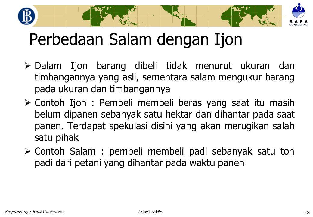 Prepared by : Rafa Consulting Zainul Arifin 57 Karakteristik salam (Fatwa DSN No.05/DSN-MUI/IV/2000)  Penyerahan barang sebelum atau pada waktunya :