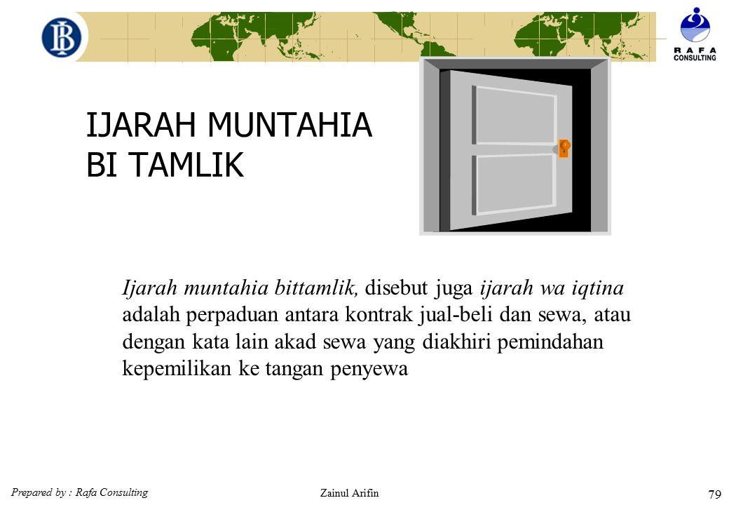 Prepared by : Rafa Consulting Zainul Arifin 78 Karakteristik Ijarah (Fatwa DSN : 09/DSN-MUI/IV/2000) Kewajiban LKS dan Nasabah dalam Pembiayaan Ijarah