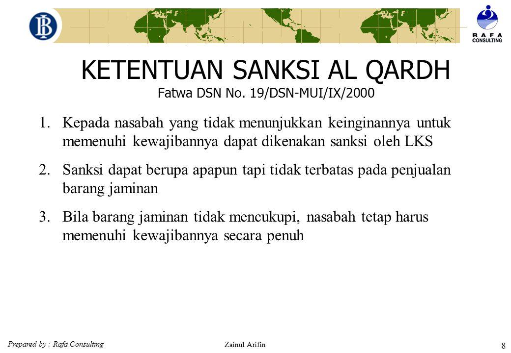 Prepared by : Rafa Consulting Zainul Arifin 7 KETENTUAN UMUM AL QARDH Fatwa DSN No. 19/DSN-MUI/IX/2000 6.Jika nasabah tidak dapat mengembalikan sebagi