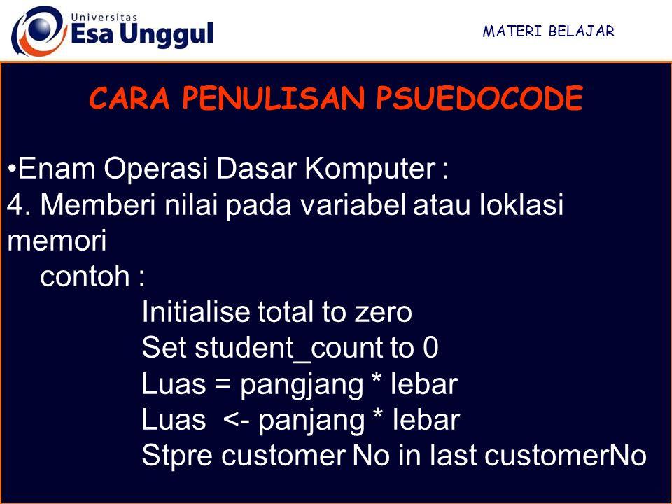 MATERI BELAJAR CARA PENULISAN PSUEDOCODE Enam Operasi Dasar Komputer : 5.