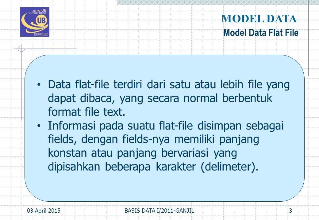 03 April 2015BASIS DATA I/2011-GANJIL3 Model Data Flat File MODEL DATA Data flat-file terdiri dari satu atau lebih file yang dapat dibaca, yang secara