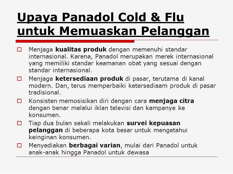 Upaya Panadol Cold & Flu untuk Memuaskan Pelanggan  Menjaga kualitas produk dengan memenuhi standar internasional.