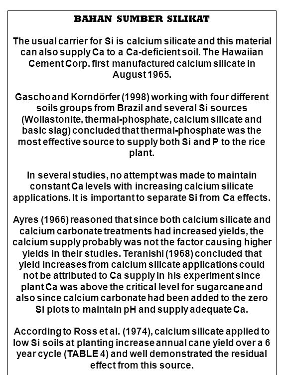 BAHAN SUMBER SILIKAT The usual carrier for Si is calcium silicate and this material can also supply Ca to a Ca-deficient soil. The Hawaiian Cement Cor