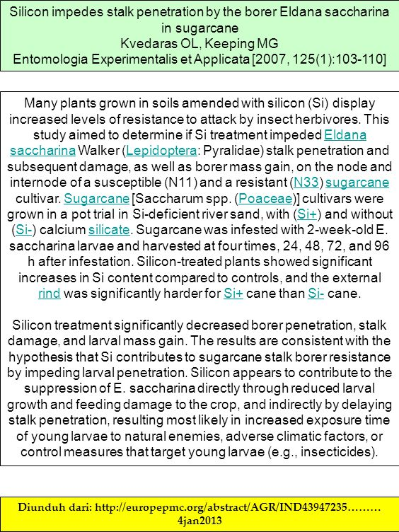 Silicon impedes stalk penetration by the borer Eldana saccharina in sugarcane Kvedaras OL, Keeping MG Entomologia Experimentalis et Applicata [2007, 1