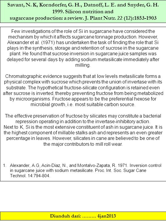 Savant, N. K, Korndorfer, G. H., Datnoff, L. E. and Snyder, G. H. 1999. Silicon nutrition and sugarcane production: a review. J. Plant Nutr. 22 (12):1