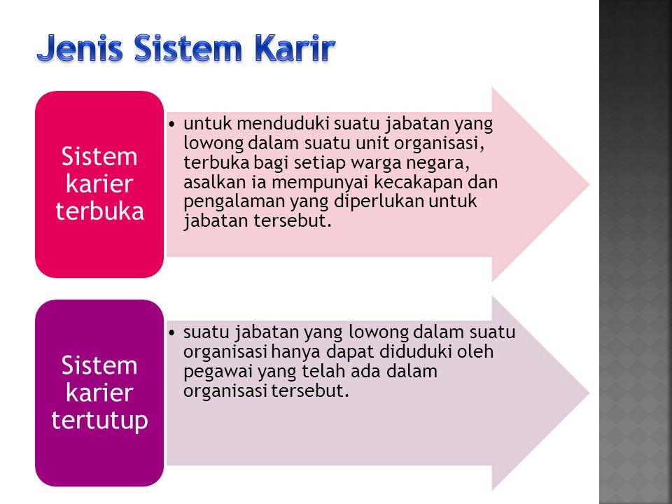 Sistem Karir Untuk pengangkatan pertamanya didasarkan atas kecakapan yang bersangkutan, sedangkan dalam pengembangan lebih lanjut, masa kerja, pengalaman, kesetiaan, pengabdian, dan syarat-syarat obyektif lainnya juga turut menentukan.