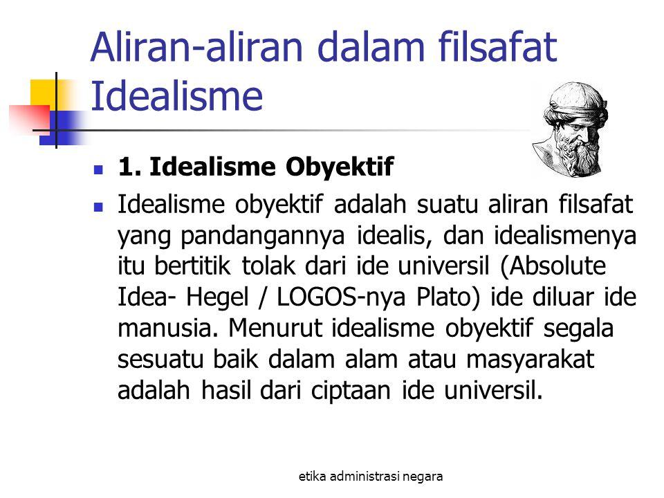 etika administrasi negara Aliran-aliran dalam filsafat Idealisme 1. Idealisme Obyektif Idealisme obyektif adalah suatu aliran filsafat yang pandangann