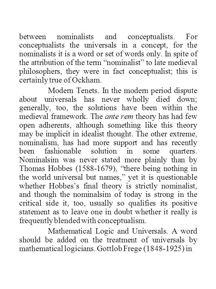 between nominalists and conceptualists.