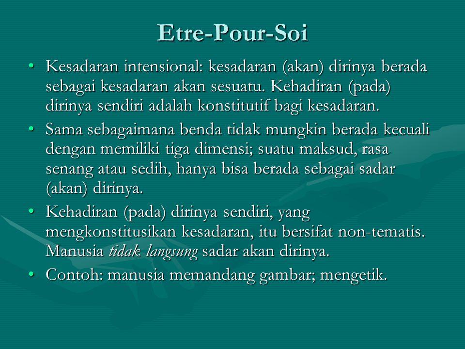 Etre-Pour-Soi Kesadaran intensional: kesadaran (akan) dirinya berada sebagai kesadaran akan sesuatu. Kehadiran (pada) dirinya sendiri adalah konstitut