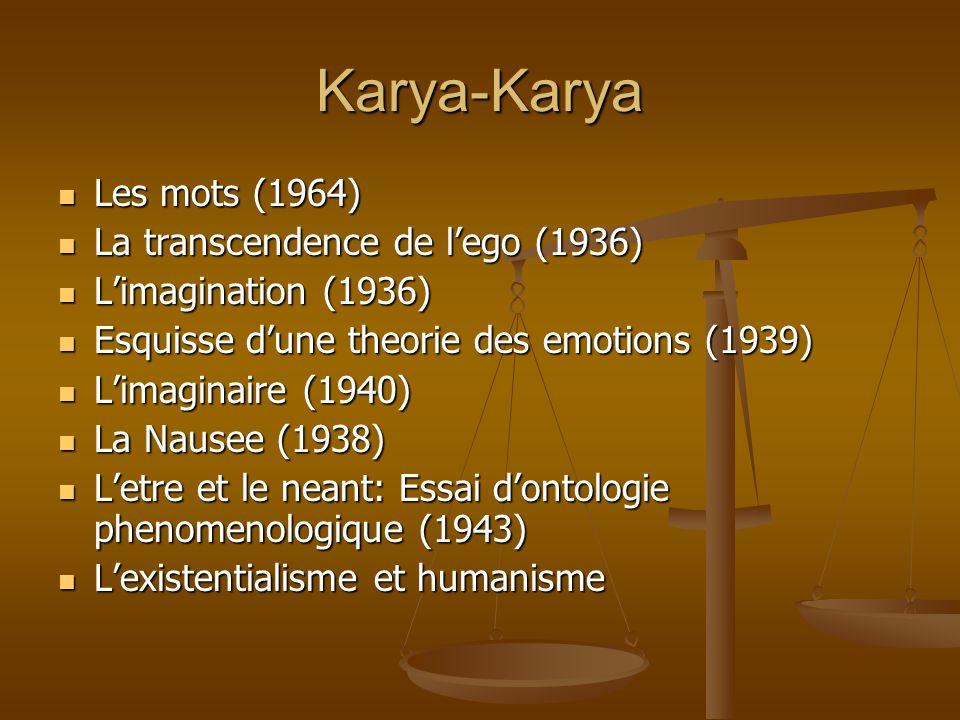 Karya-Karya Les mots (1964) Les mots (1964) La transcendence de l'ego (1936) La transcendence de l'ego (1936) L'imagination (1936) L'imagination (1936