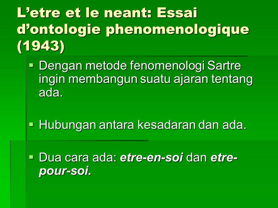 L'etre et le neant: Essai d'ontologie phenomenologique (1943)  Dengan metode fenomenologi Sartre ingin membangun suatu ajaran tentang ada.  Hubungan