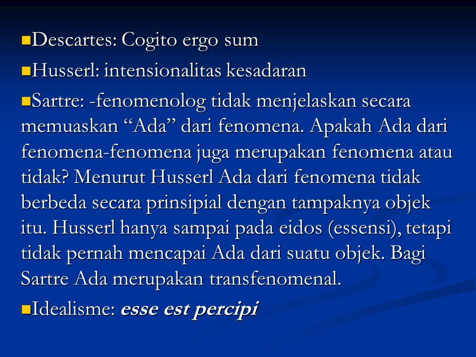 Descartes: Cogito ergo sum Descartes: Cogito ergo sum Husserl: intensionalitas kesadaran Husserl: intensionalitas kesadaran Sartre: -fenomenolog tidak