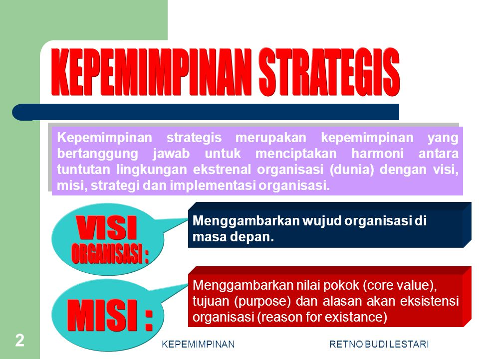 KEPEMIMPINANRETNO BUDI LESTARI 2 Menggambarkan nilai pokok (core value), tujuan (purpose) dan alasan akan eksistensi organisasi (reason for existance) Kepemimpinan strategis merupakan kepemimpinan yang bertanggung jawab untuk menciptakan harmoni antara tuntutan lingkungan ekstrenal organisasi (dunia) dengan visi, misi, strategi dan implementasi organisasi.