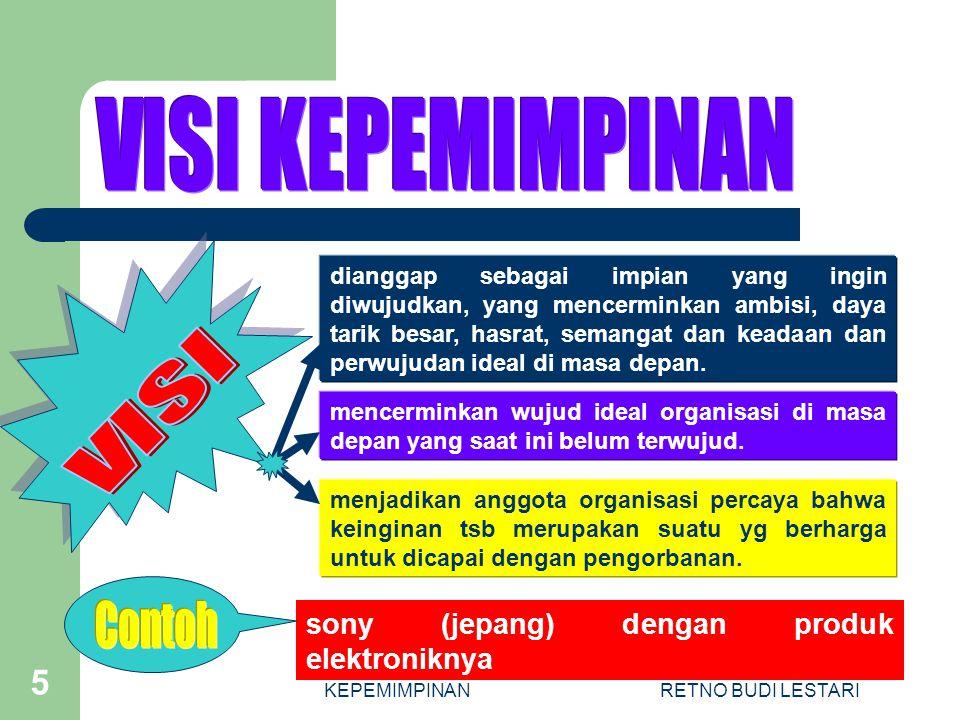 KEPEMIMPINANRETNO BUDI LESTARI 6 Turut berpartisipasi secara nyata dalam upaya mencerdaskan kehidupan bangsa Indonesia.