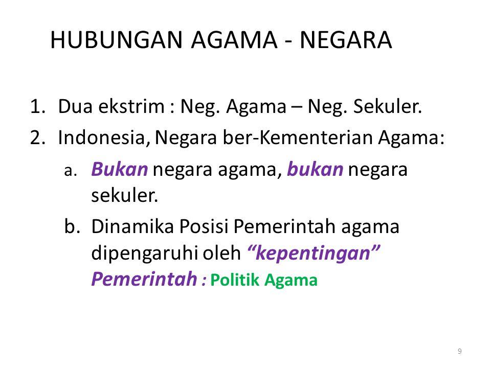 HUBUNGAN AGAMA - NEGARA 1.Dua ekstrim : Neg. Agama – Neg. Sekuler. 2.Indonesia, Negara ber-Kementerian Agama: a. Bukan negara agama, bukan negara seku
