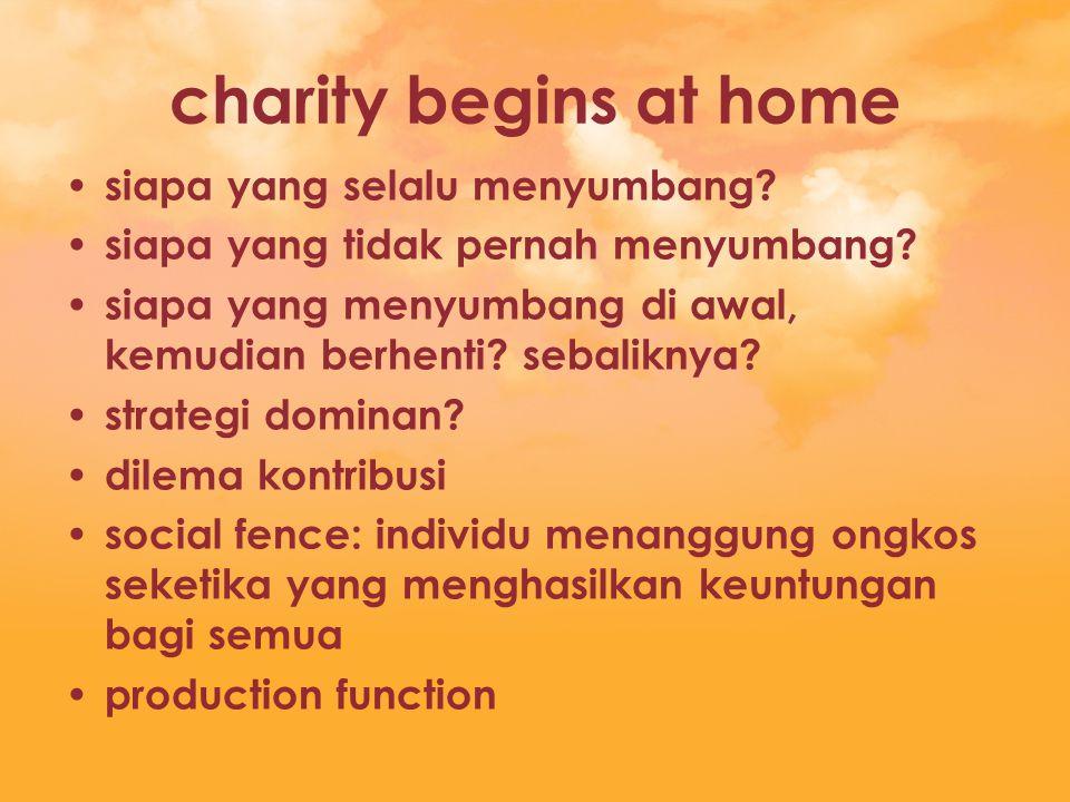 charity begins at home siapa yang selalu menyumbang? siapa yang tidak pernah menyumbang? siapa yang menyumbang di awal, kemudian berhenti? sebaliknya?