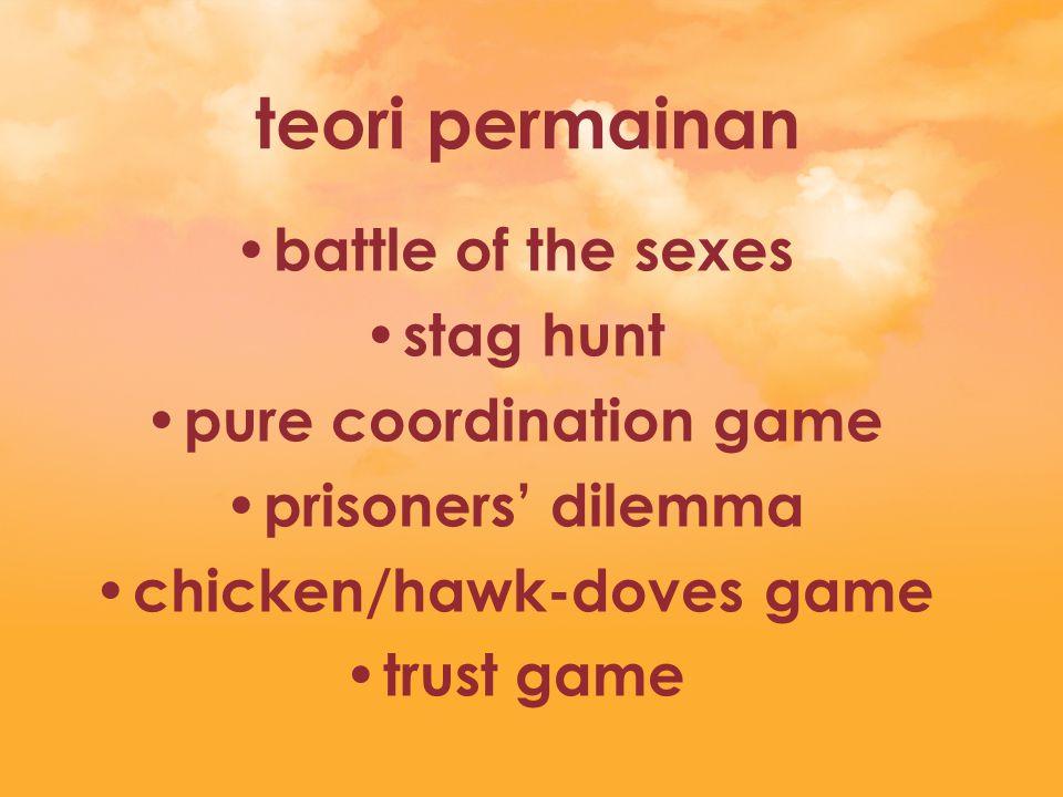 battle of the sexes ada 2 Nash-equilibria equilibrium terjadi ketika kedua pemain mengambil langkah yang sama masing-masing equilibrium lebih menguntungkan seorang pemain saja