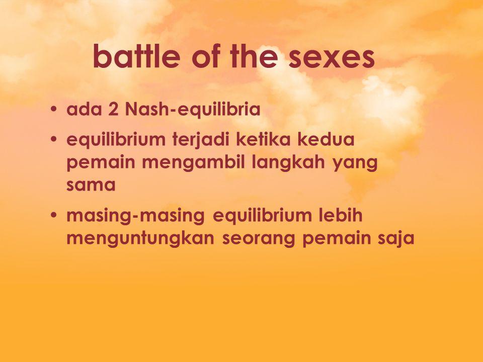 battle of the sexes ada 2 Nash-equilibria equilibrium terjadi ketika kedua pemain mengambil langkah yang sama masing-masing equilibrium lebih menguntu