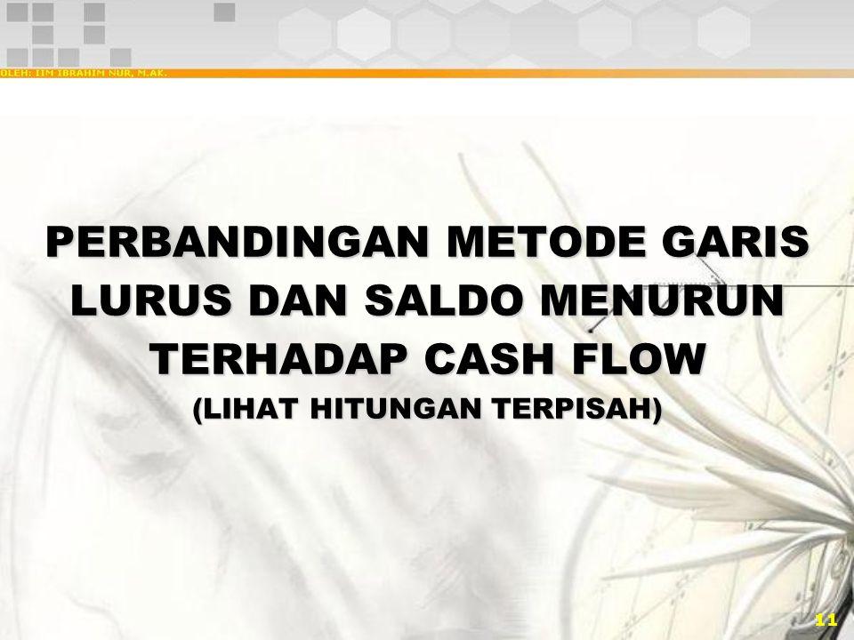 11 PERBANDINGAN METODE GARIS LURUS DAN SALDO MENURUN TERHADAP CASH FLOW (LIHAT HITUNGAN TERPISAH)