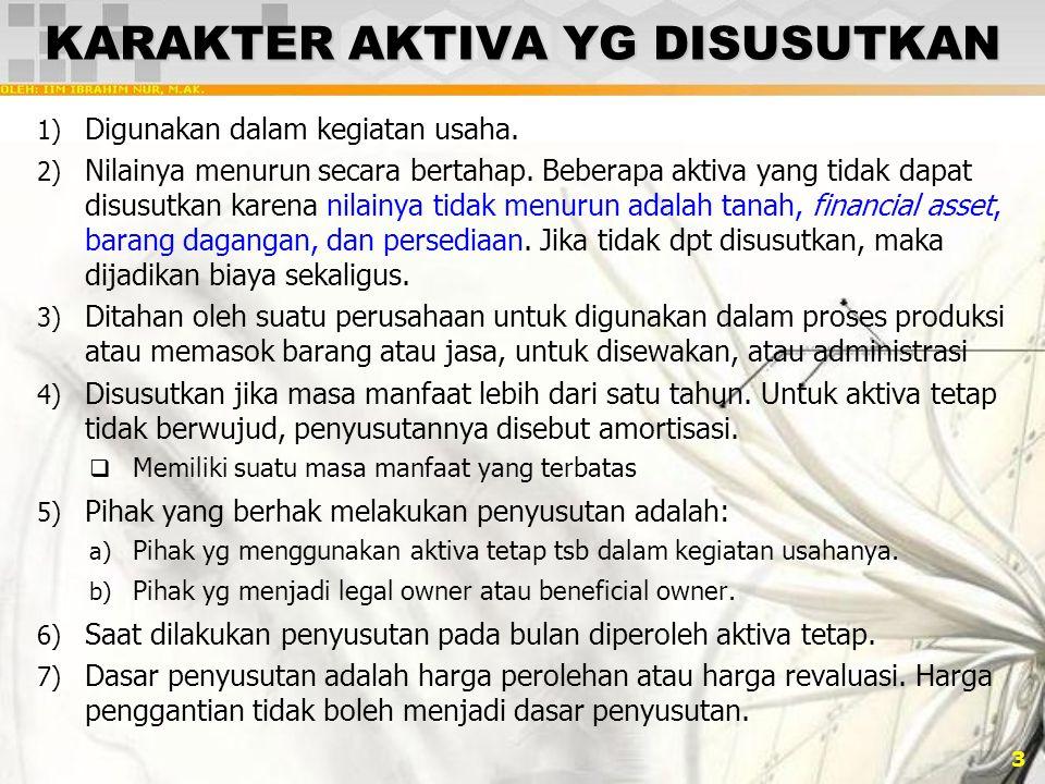3 KARAKTER AKTIVA YG DISUSUTKAN 1) Digunakan dalam kegiatan usaha.