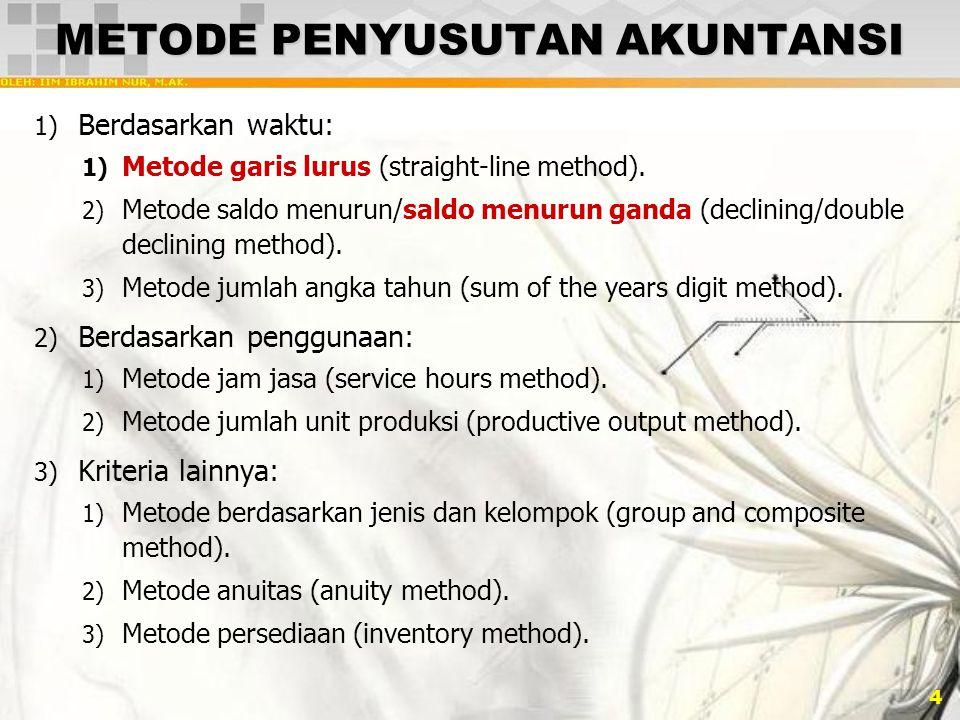 4 METODE PENYUSUTAN AKUNTANSI 1) Berdasarkan waktu: 1) Metode garis lurus (straight-line method). 2) Metode saldo menurun/saldo menurun ganda (declini