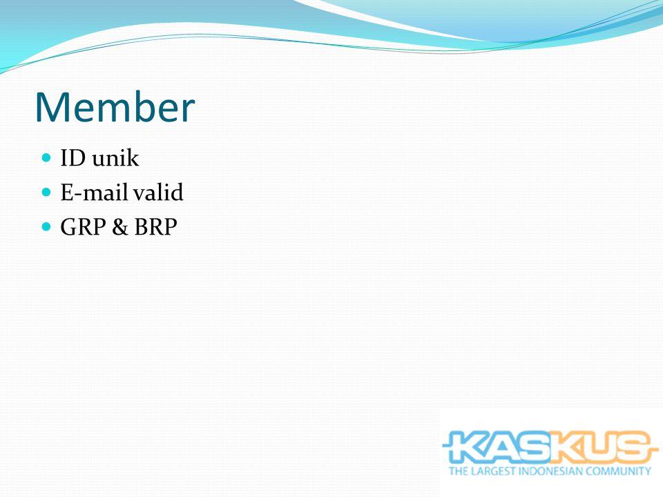Member ID unik E-mail valid GRP & BRP