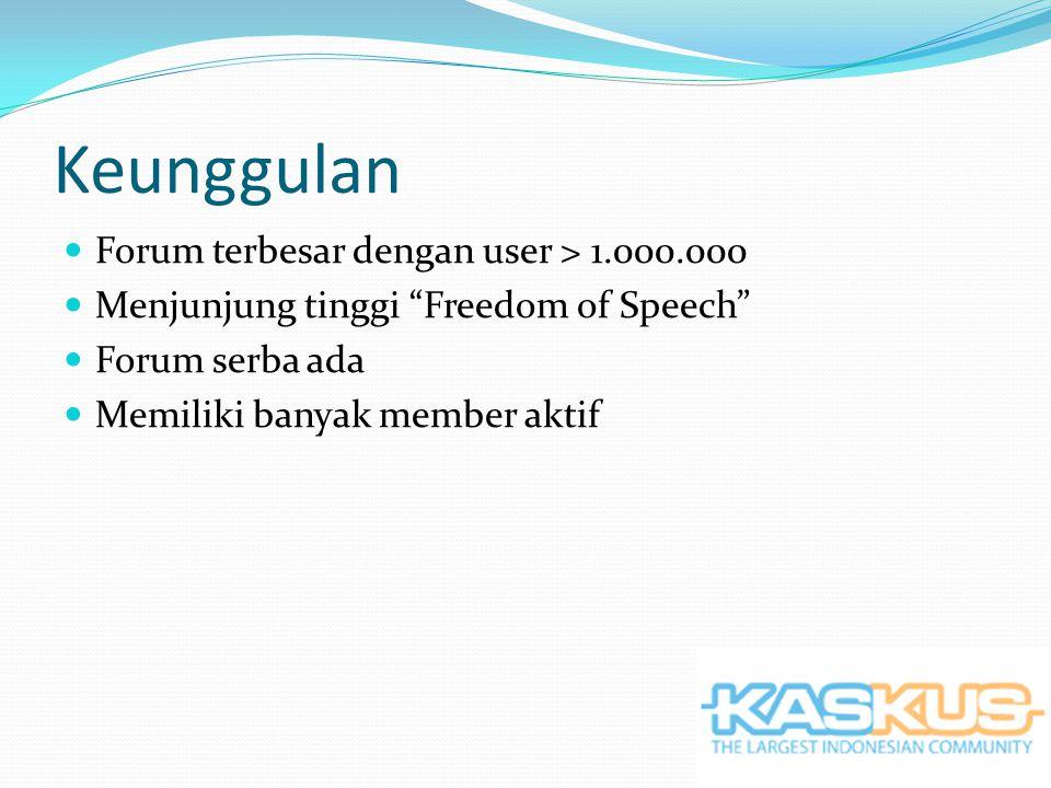 Keunggulan Forum terbesar dengan user > 1.000.000 Menjunjung tinggi Freedom of Speech Forum serba ada Memiliki banyak member aktif