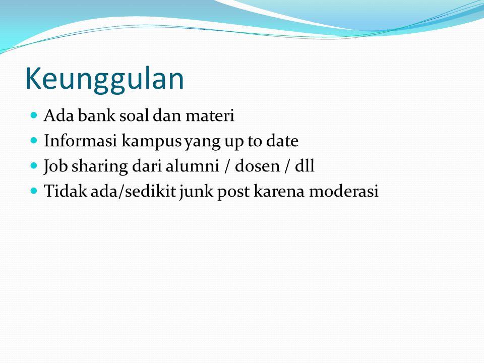 Keunggulan Ada bank soal dan materi Informasi kampus yang up to date Job sharing dari alumni / dosen / dll Tidak ada/sedikit junk post karena moderasi