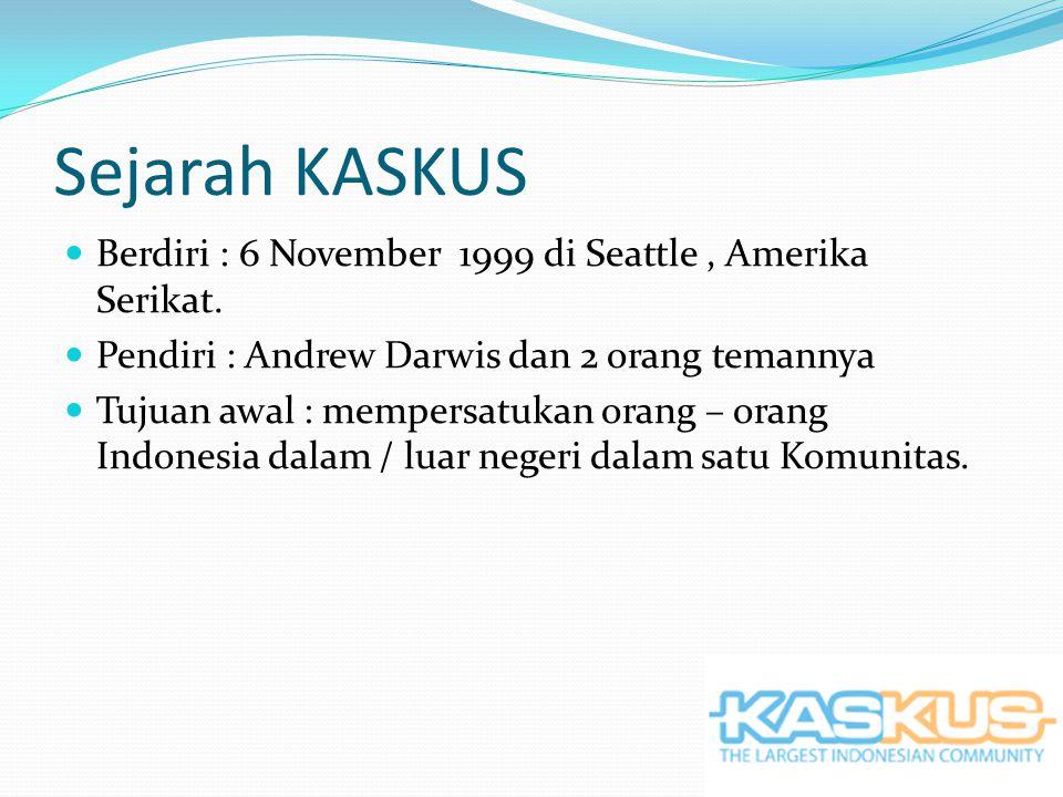 Sejarah KASKUS Berdiri : 6 November 1999 di Seattle, Amerika Serikat.