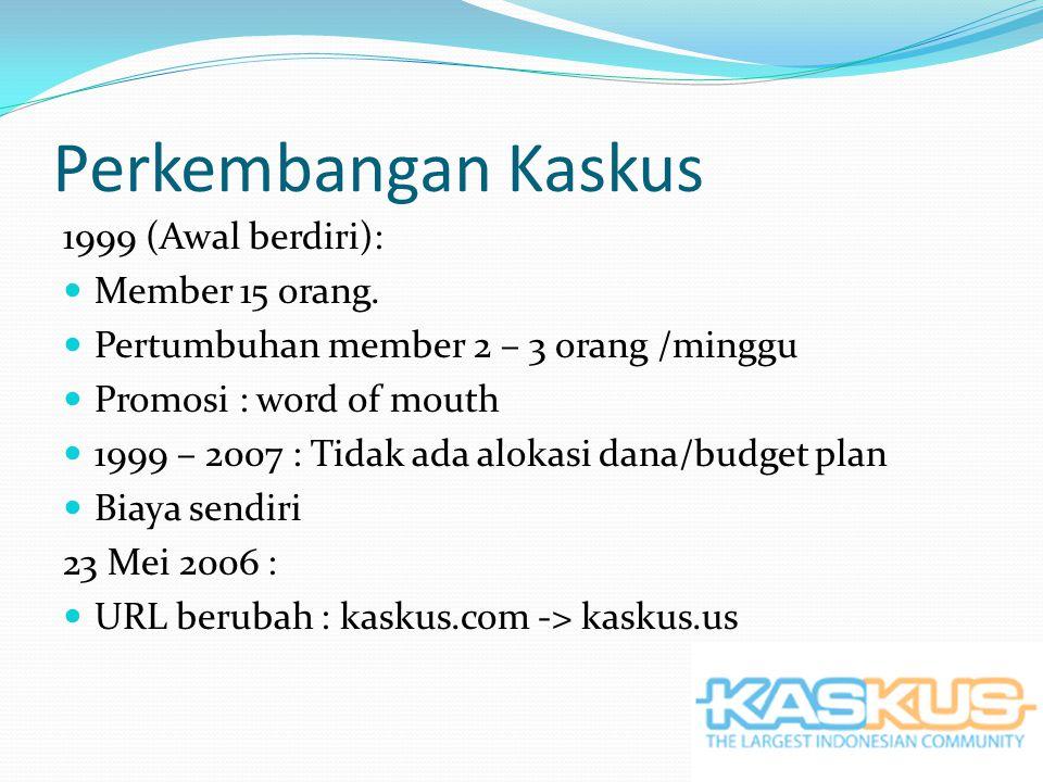 Perkembangan Kaskus 2008 : Server baru / 3 bulan Pertumbuhan member 500 – 1000 orang /hari Juli : Setup 8 server di Indonesia September : 16 server di Indonesia Dikelola PT.