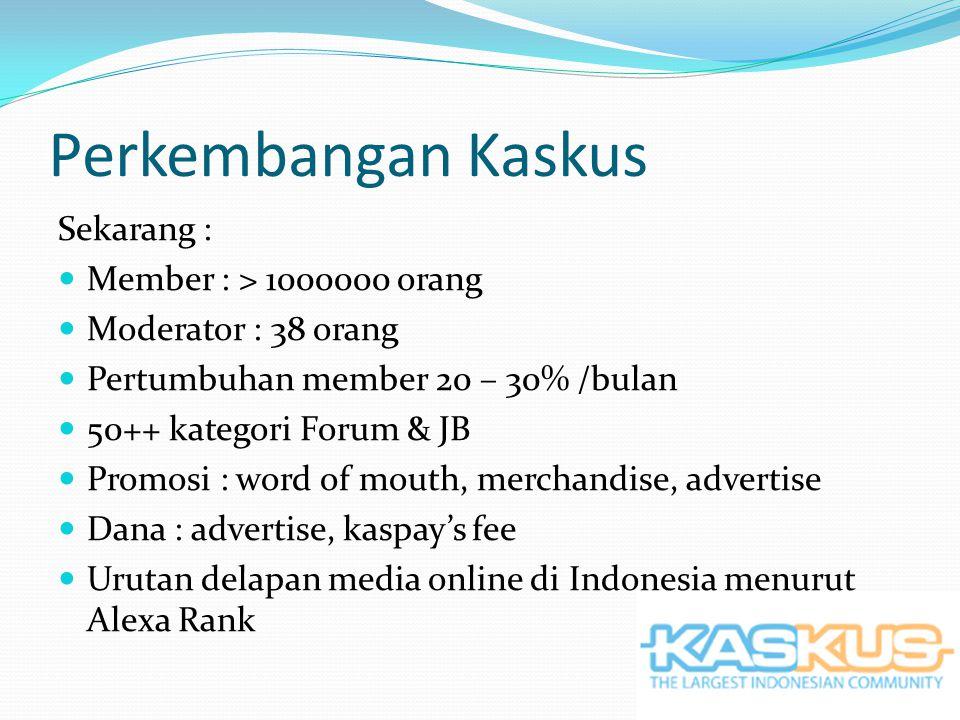 Perkembangan Kaskus Sekarang : Member : > 1000000 orang Moderator : 38 orang Pertumbuhan member 20 – 30% /bulan 50++ kategori Forum & JB Promosi : word of mouth, merchandise, advertise Dana : advertise, kaspay's fee Urutan delapan media online di Indonesia menurut Alexa Rank