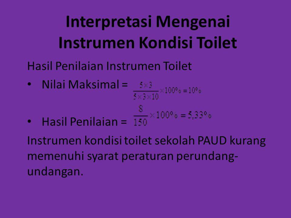 Interpretasi Mengenai Instrumen Kondisi Toilet Hasil Penilaian Instrumen Toilet Nilai Maksimal = Hasil Penilaian = Instrumen kondisi toilet sekolah PA