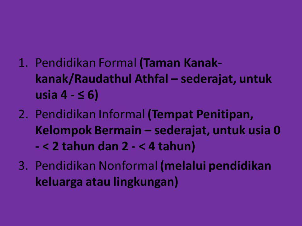 1.Pendidikan Formal (Taman Kanak- kanak/Raudathul Athfal – sederajat, untuk usia 4 - ≤ 6) 2.Pendidikan Informal (Tempat Penitipan, Kelompok Bermain –