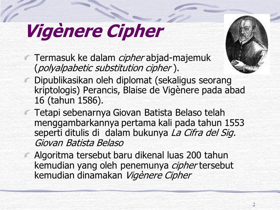 2 Vigènere Cipher Termasuk ke dalam cipher abjad-majemuk (polyalpabetic substitution cipher ). Dipublikasikan oleh diplomat (sekaligus seorang kriptol