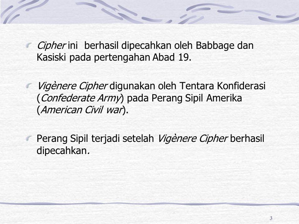 3 Cipher ini berhasil dipecahkan oleh Babbage dan Kasiski pada pertengahan Abad 19. Vigènere Cipher digunakan oleh Tentara Konfiderasi (Confederate Ar