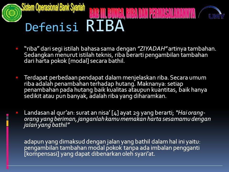Defenisi RIBA  riba dari segi istilah bahasa sama dengan ZIYADAH artinya tambahan.