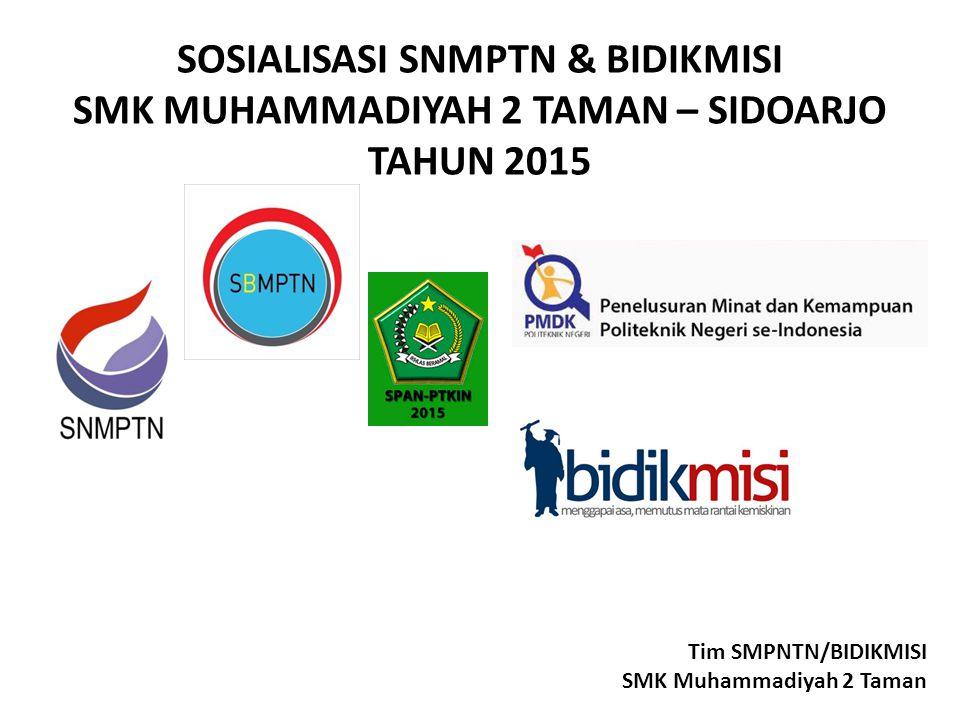 SOSIALISASI SNMPTN & BIDIKMISI SMK MUHAMMADIYAH 2 TAMAN – SIDOARJO TAHUN 2015 Tim SMPNTN/BIDIKMISI SMK Muhammadiyah 2 Taman