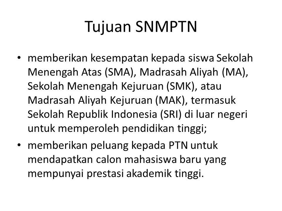 Tujuan SNMPTN memberikan kesempatan kepada siswa Sekolah Menengah Atas (SMA), Madrasah Aliyah (MA), Sekolah Menengah Kejuruan (SMK), atau Madrasah Ali