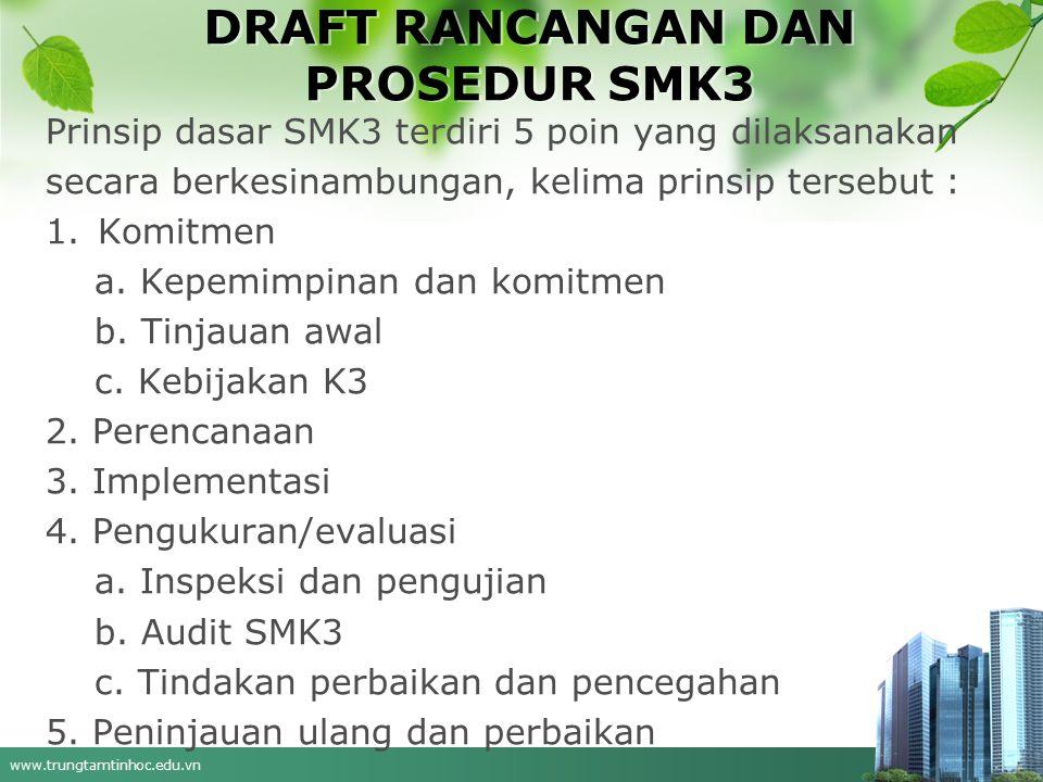 www.trungtamtinhoc.edu.vn DRAFT RANCANGAN DAN PROSEDUR SMK3 Prinsip dasar SMK3 terdiri 5 poin yang dilaksanakan secara berkesinambungan, kelima prinsip tersebut : 1.Komitmen a.
