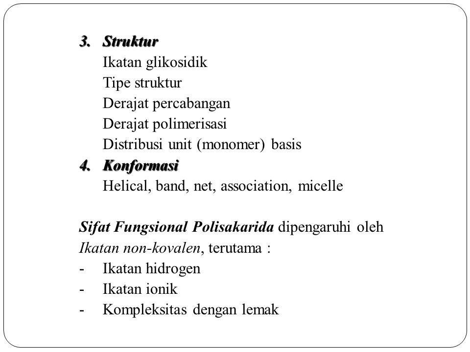 3.Struktur Ikatan glikosidik Tipe struktur Derajat percabangan Derajat polimerisasi Distribusi unit (monomer) basis 4.Konformasi Helical, band, net, a